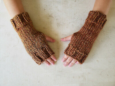 Hand Knit Fingerless Gloves- Wrist Warmers-Autumn Color Heavy Weight Mittens