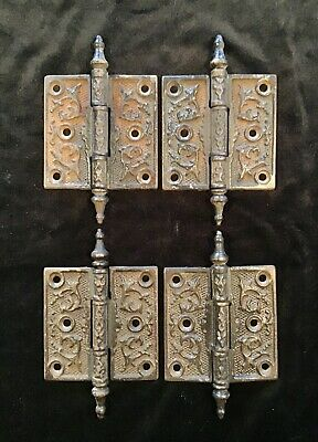 "Four Matching Antique Cast Iron Steeple Top Door Hinges (4),  3 1/2"" X 3 1/2"""