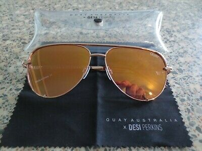 Quay Australia gold frame mirror sunglasses. High Key mini. With case.