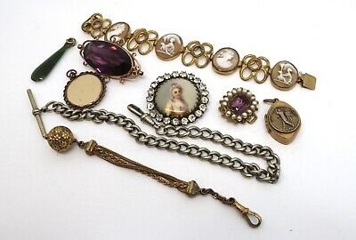 x9 Antique Victorian Rolled Gold Cameo Bracelet Brooches Chain etc #16682