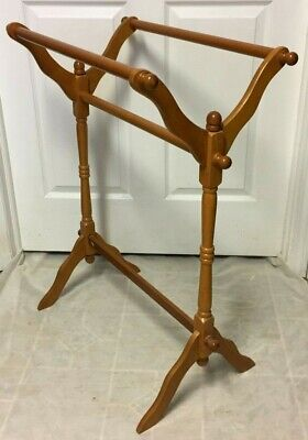 Antique Solid Wood  Display Blanket Stand Quilt Drying Towel Clothes Rail Rack