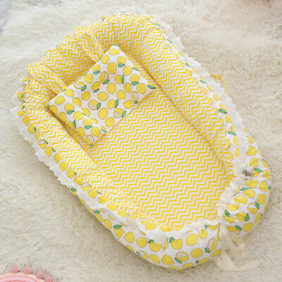 Baby Lounger Soft Cotton Baby Bassinet Portable Sleeping Baby Bed for Traveling
