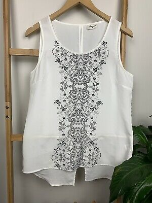 JEANS WEST Size 10 White Floral Pattern Relaxed Fit Chiffon Singlet Top