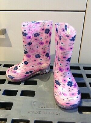 Girls Pink Flowery Wellie Boots - Size 5