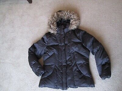 Womens Calvin Klein Brown Duck Down Puffer Hooded Coat Jacket Size XL
