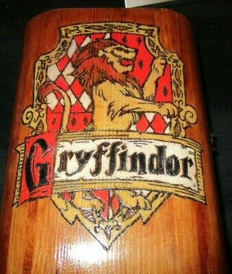 Harry Potter Gryffindor carved hand made wooden chest / jewelry box