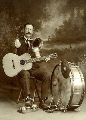 Antique Photo ... One Armed, One Man Band ... Photo Print 5x7