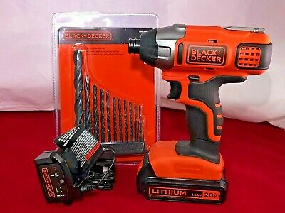 NEW BLACK&DECKER Cordless Drill BDCI202 W/Battery, Charger & 23pc Drill Bit Set