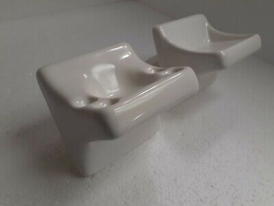 White Ceramic Soap Tray Toothbrush Tumbler Holder Wall Mount Vintage Color K101