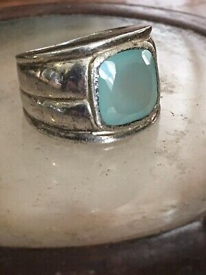 Vintage Art Deco 925 sterling silver faceted aquamarine band ring size 8.5,15.4g
