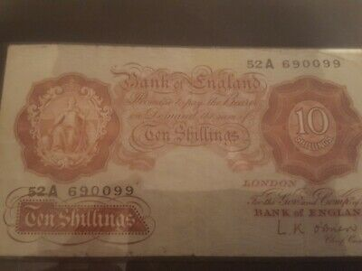 Bank Of England Ten Shilling Note. Beale. 1949-1955. Old 10/- Banknote.