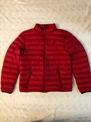 Polo Ralph Lauren Boys Size XL 18-20 Jacket Red Puffer Down Fill Coat Warm Winte