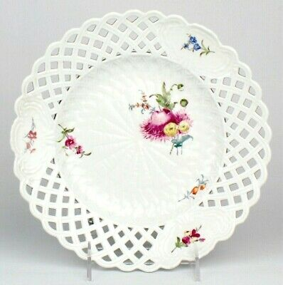 Antique 18th c Marcolini Period Reticulated Meissen Porcelain Plate - Flowers PC