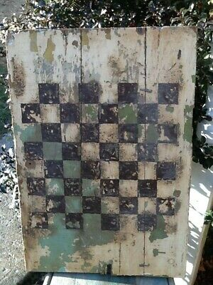 Best Early Primitive Large Wooden Game Board Original Old Paint Old Repair