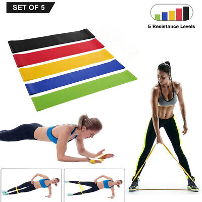 Resistance Bands Loop Yoga Pull Up Exercise Fitness Strength Training Set of 5