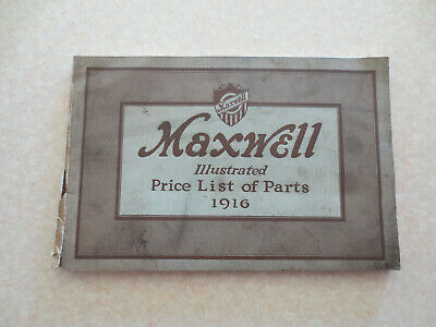 Original 1916 Maxwell motor cars illustrated price list of parts booklet