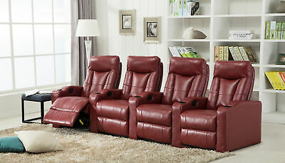 Home Theater PU Leather Recliner Sofa Set with Padded Seat Backrest and Footrest