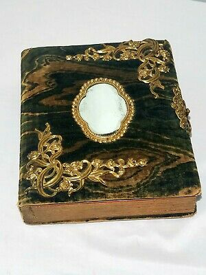 Antique 1800s Victorian Green Swirl Velvet Gilt Gold Metal Mirror Photo Album