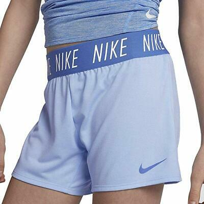 NIKE Girls' Dri-FIT Trophy Training Shorts Light Blue SIZE: Large