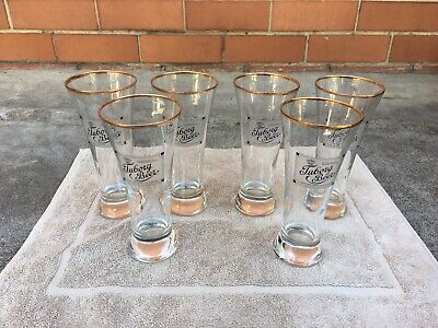 6x VINTAGE 1980s TUBORG DANISH BEER GLASS SET 285ML, HEIGHT-18cm (PICK UP~3083)
