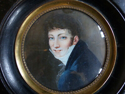 LARGE & VERY FINE ANTIQUE EARLY 19th CENTURY GENTLEMAN MINIATURE PORTRAIT 1830's