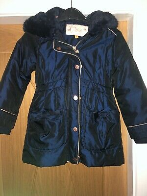 Ted Baker Girls Coat Vgc Navy With Fur Hud Age 3-4