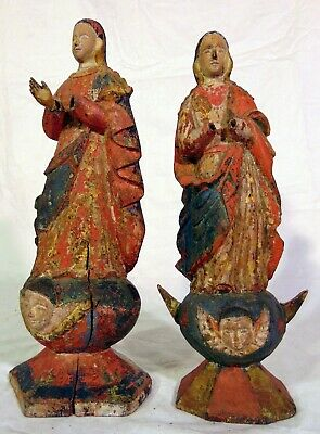 RARE PAIR Antique Santos Carved Wood Figures 18th 19th C Man Woman #1