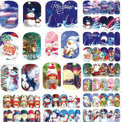 B125 Decals Nail Art Sticker Christmas Snowman Pedicure DIY Claus Beauty