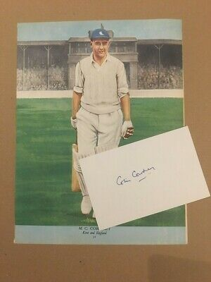 Signed CARD with picture of COLIN COWDREY late KENT & ENGLAND Cricketer.