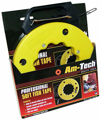 50FT FISH TAPE Electrical Cable & Wire Puller Drywall Conduit Threader