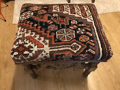 victorian Footstool with Antique tribal Persian Qashqai Rug Boho Country House