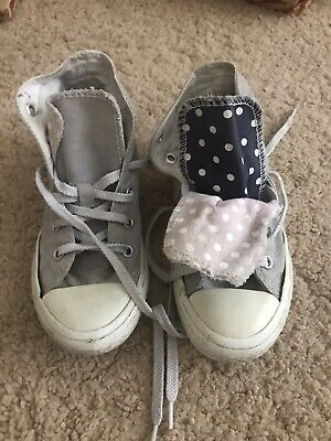 Girls Converse All Star Trainers Silver. Size 12 Uk
