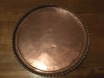 Very large copper ?arts and crafts, hand beaten, fluted/scallop edged tray #2212