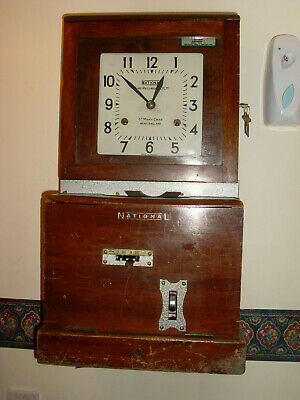 Vintage National Time Reorder/Clocking In Clock , Complete & Working , Oak Cased