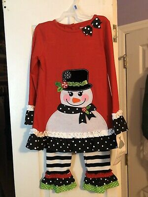 Rare Editions Little Girls Red Snowman Holiday Christmas Dress Legging Outfit 6