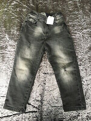 Next Boys Distressed Black Denim Jeans Age 5 Years NEW