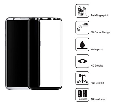 100% Genuine Tempered glass Curved Film Screen Protector Samsung Galaxy S8 Black