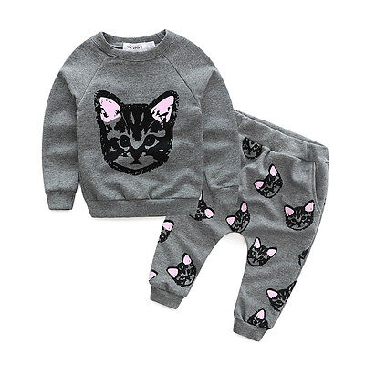 Toddler Kids Baby Girls Cat Print T-shirt Top Pants Outfit Clothes Tracksuit Set