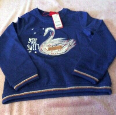 Bnwt S.Oliver Girls Sweatshirt with Sequin Print - Blue - 6-8 Years