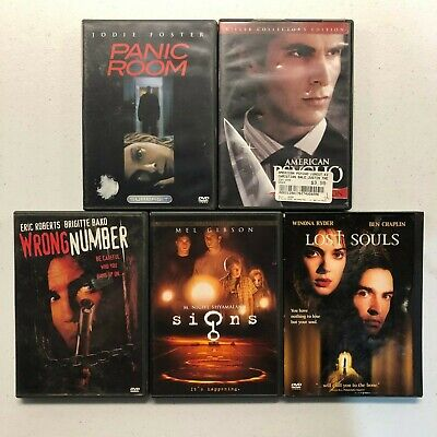 Scary Horror Thriller DVD Lot OF 5 Signs Panic Room American Psycho