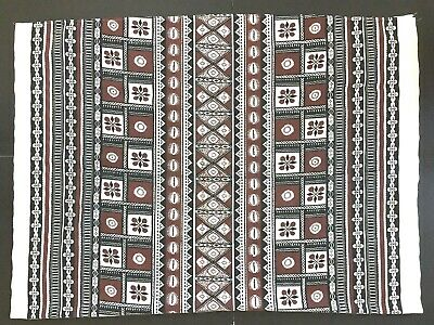 Midcentury Modern Vintage Tablecloth Puka Cowrie Shell Abstract Floral 47 x 69
