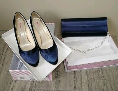 Rainbow Club Ladies Nicole Shoes Heels sz 9 42 & Matching clutch Bag Navy Blue