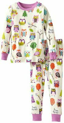 Hatley Little Blue House by Girls Party Owls Pyjama Set, Off-White, 6 Years Ma