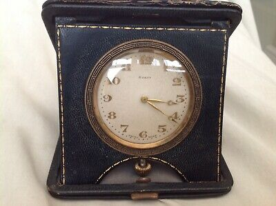 Antique 8 Day Travel Alarm Clock In Original Moraccan Fitted Leather Case No/Res