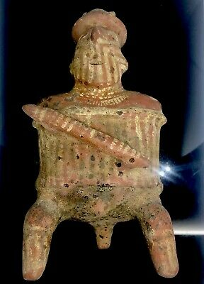Nayarit Pottery Seated Warrior Figure Of Respected Chieftain With Horns
