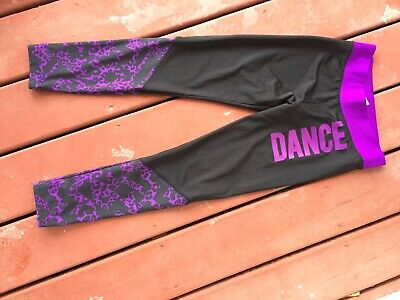 Justice Dance or Active Leggings Size 12 Black And Purple