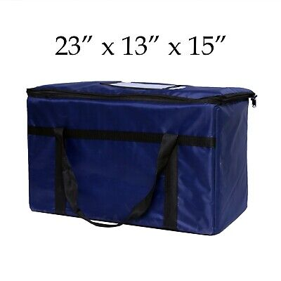 """Blue Nylon Insulated Food Delivery Bag,Pan Carrier, 23""""x13""""x15"""""""