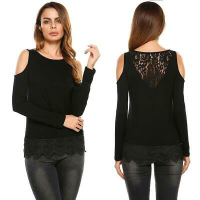 Women Casual O-Neck Long Sleeve Off Shoulder Lace Patchwork T-Shirt GDY7 02
