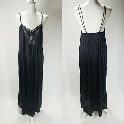 Vintage 70s Nylon Nightgown Sheer Black lace and flowers DEENA SOFT