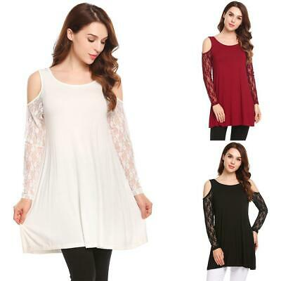 Women Casual O-Neck Cold the Shoulder Lace Patchwork Sexy Blouse T-shirt GDY7